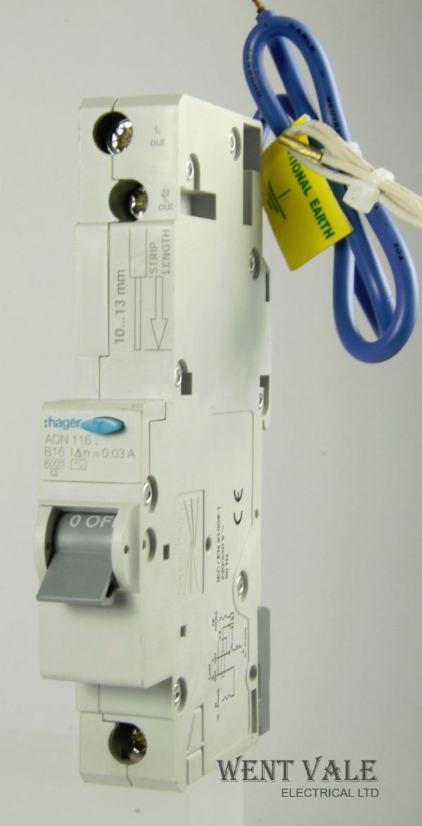 Hager ADN116 - 16a 30mA AC Type B Single Pole RCBO Used